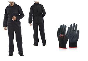 Arbeitskombi Kombi Overall schwarz 46-68 Arbeitsoverall inkl. 1x Handschuhe RPCB
