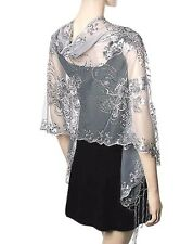 Silver Sequin Evening Shawl Wrap Floral Scarf