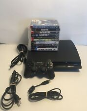 Sony Playstation 3 PS3 Slim 320 GB Console Bundle - 10 Games Controller, Tested!