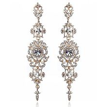 4.25'' L Rose Gold Austrian Crystal Rhinestone Chandelier Dangle Earrings E122