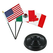 "USA American / Mexico / Canada Flags 4""x6"" Desk Set Table Stick Black Base"