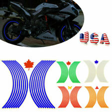 "2X Motorcycle Car Wheel Rim Reflective Strips 17""-18"" Stripe Tape Decal Sticker"