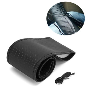 38 cm Leather Car Accessories Anti-Slip Steering Wheel Cover DIY Auto Protection