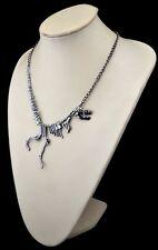 Estaño plata caminando Esqueleto Huesos De Dinosaurio Trex Collar Punk Goth vendedor del Reino Unido