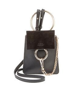 NWT CHLOÉ CHLOE Mini Faye Bracelet Leather and Suede Shoulder Handheld Bag Black