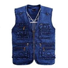New Men's Outdoor Vest Denim Waistcoat Jacket fastener Multi-Pocket Jean coat