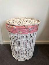 Brand New Regular White Double Wicker Laundry Basket Fully Assembled Girls Room