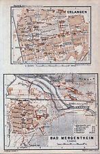 Erlangen + Bad Mergentheim 1937 kl. orig. Stadtpläne + Karte  Fränkische Schweiz