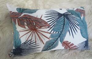 30x50cm Teal, Blue Rust Brown Tropical Leaves Jacquard  Lounge Cushion Cover
