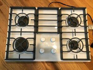 "KitchenAid KGCC506RWW Architect II 30"" White Glass Sealed Burner Natural Gas Coo"
