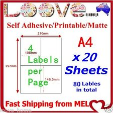 20x A4 Labels Sticker Paper Mailing Address Office Laser Inkjet 2x2 105x148.5mm