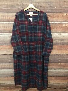 NWT Vintage COMFORT CHOICE Flannel V-Neck Nightgown Plaid ~ Sz L