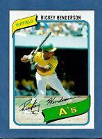 1980 Topps Rickey Henderson Rookie Oakland Athletics #482