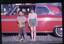 1960s  Photo slide Ford Galaxie Car automobile #2 Girl  Boy Bazooka Ball Toy