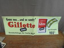 AFFICHE DE MAGASIN GILLETTE Rasoir Lames Blades Klingen vers 1955 (77 x 27 cms)