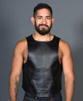 Genuine Leather Panel Vest Geometric Panels Cropped Front Zip Opening Kink Top