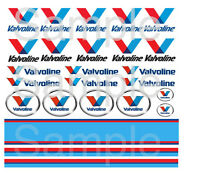 Valvoline 1:64 1:43 1:32 1:24 1:18 WATER-SLIDE DECALS FOR HOT WHEELS SLOT CAR: