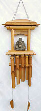 WIND CHIME Lg Feng Shui LAUGHING BUDDHA Bamboo Pagoda Hand Made *+#`