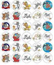 30 x Tom And Jerry Cupcake Toppers Edible Wafer Paper Fairy Cake Toppers