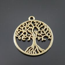 20pcs Antiqued Bronze Alloy Hollow Tree Round Pendant Charms Jewelry 38027