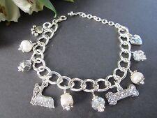 Yorkie Terrier Dog Charm Bracelet with Freshwater Pearls & Swarvoski Crystals