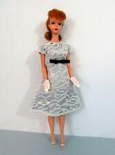 Vintage Barbie Doll Clothes - HANDMADE LACE PARTY DRESS w Black Bow - LIGHT BLUE