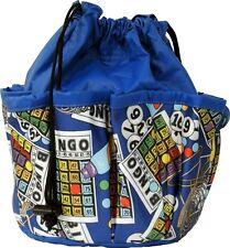 10 POCKET BINGO BAG WITH BINGO CARD PRINT #2 (BLUE) *MADE IN THE USA*
