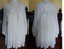 Romantic India blouse ethnic sheer lace tunic shirt bohemian hippie rayon L