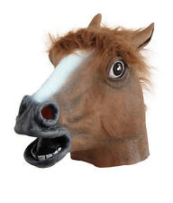Brown Horse Rubber Overhead Mask Fancy Dress Costume Outfit Prop Horses Head