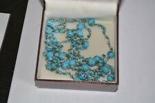 VINTAGE ART DECO BLUE SPATTER GLASS BEAD NECKLACE
