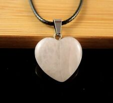 Rose Quartz Natural Gemstone Heart Pendant on a Black Waxed Cord Necklace #1200