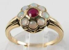QUALITY 9CT GOLD ART DECO INS INDIAN RUBY & AUS OPAL RING FREE RESIZE