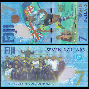 Fiji 7 Dollars, 2016/2017, P-120, Rugby 7s Gold Medal COMM., Banknote, UNC