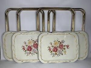 Vtg King Size TV Trays Metal Scalloped Edge with Stands Flowers Roses Set of 4