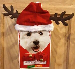 Holiday Time Red Santa Antlers Hat w/White  Fur Trim & Cuffie w/Bells Set