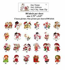 80 Small Return Address Labels Christmas Buy 3 Get 1 Free Ch1