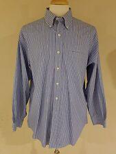 Brooks Brothers Non iron, Dress Shirt, L, Blue, White, Black, Striped, red label