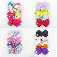 6 PCS/Set Cute Rainbow Printed Knot Ribbon Bow Hair Chip For Kids Girls Newly
