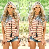 Fashion Women Summer Loose Short Sleeve Print Casual Irregular Tops Shirt Blouse
