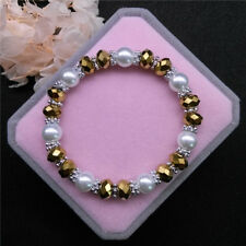 Wholesale Fashion Jewelry 8mm Pearl 8mm Crystal Beads Stretch Bracelet QR15