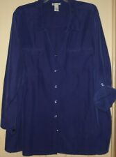 PLUS SIZE 4X BUTTON FRONT BLOUSE WITH ADJUSTABLE SLEEVES from CATHERINES EUC