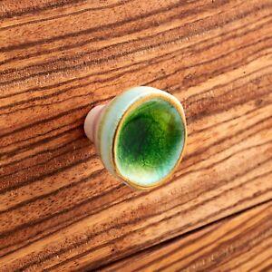 Green Gold Concave Porcelain Ceramic Cupboard Door Cabinet Knob Drawer Pull