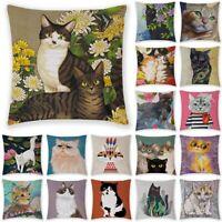 Cartoon Cat Kitten Linen Pillow Case Waist Throw Cushion Cover Home Sofa Decor