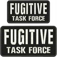 Fugitive Task Force Enbroidey Patch 4x8 &3x6   hook on back blk/white