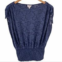 Deletta Anthropologie navy blue lace top XS