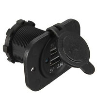 Car Motorcycle Cigarette Lighter Dual USB Charger Socket Outlet 1A 2.1A Sales
