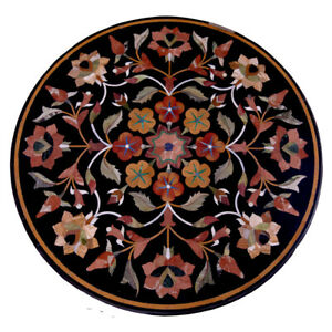 "30"" Round Marble Coffee Table Top Semi precious stones Inlay Handmade"