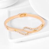 Women's Wristband Bangle Chain Bracelet Gold Austrian Crystal Cuff Charm Jewelry