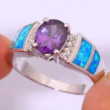 Amazing  Fire Blue  Opal  Amethyst White Topaz   Ring 925 silver Size  6