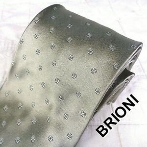BRIONI Italy Glossy Gray 100% Silk Neck Tie Atomic Silver Abstract Floret Floral